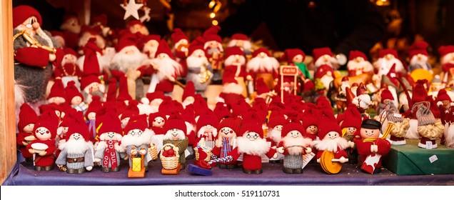 2016 November 20, Santa family dolls at christmas market in Gamla Stan, Stockholm
