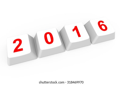2016 on keyboard buttons isolated on a white background