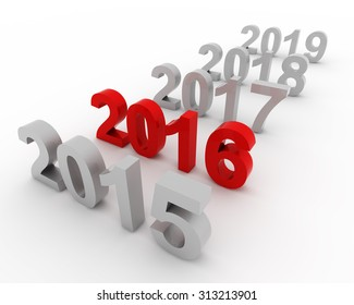 2016 past represents the new year 2016, three-dimensional rendering