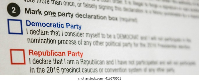 2016 Presidential Primary Blank Party Affiliation Declaration