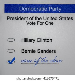 2016 Presidential Primary Democrat Ballot - none of the above