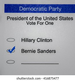 2016 Presidential Primary Democrat Ballot - Bernie Sanders