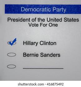 2016 Presidential Primary Democrat Ballot - Hillary Clinton