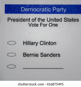 2016 Presidential Primary Democrat Ballot - blank