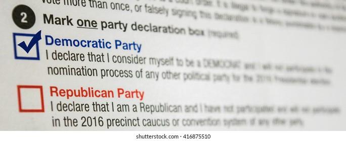 2016 Presidential Primary Democrat Party Affiliation Declaration