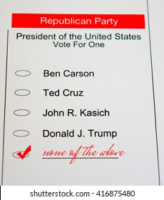2016 Presidential Primary Republican Ballot - none of the above