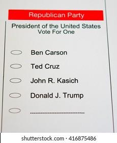 2016 Presidential Primary Republican Ballot - blank