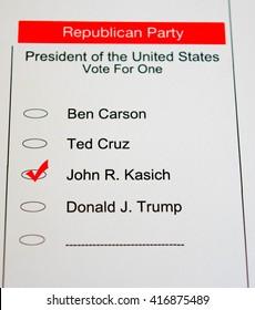 2016 Presidential Primary Republican Ballot - John Kasich
