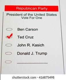 2016 Presidential Primary Republican Ballot - Ted Cruz