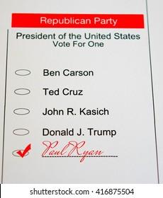 2016 Presidential Primary Republican Ballot - Paul Ryan