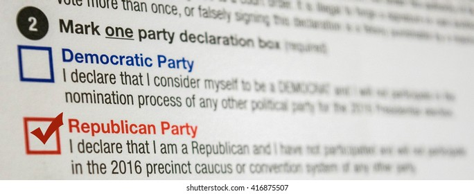 2016 Presidential Primary Republican Party Affiliation Declaration