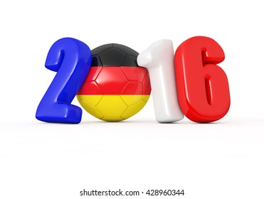 2016 with soccer ball.Germany flag.3d illustration