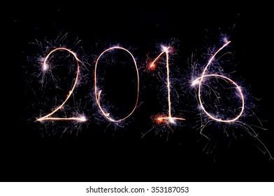 2016 from sparkler on black background