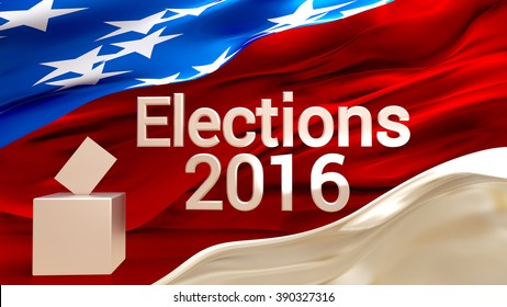 2016 US Elections: background with a US flag and ballot box