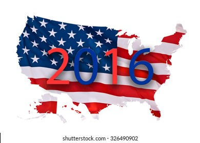 2016 US presidential elections map concept isolated on white background