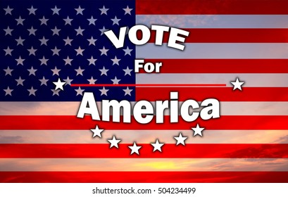 2016 USA election vote for america on grunge USA flag