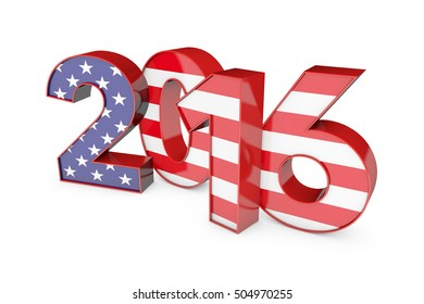 2016 word spelt out in American USA stars and stripes text