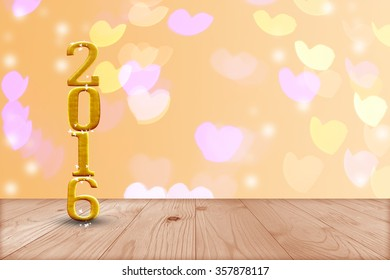 2016 year.  in perspective wood with blur bokeh wall and wooden plank floor