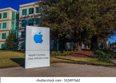 [2016-12-26] Apple Headquarters, 1 Infinite Loop in Cupertino, California, USA. Apple headquarters buildings, apple log on the sign board are on this photo
