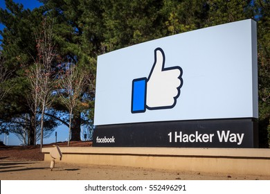 "[2016-12-26] Facebook Headquarters, 1 Hacker Way, Menlo Park, California, USA. Facebook ""like"" sign at the entrance sign board is on this photo"
