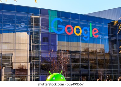 "[2016-12-26] ""Googleplex"", Google Headquarters, Mountain View, California. Google logo on the office building is in this photo"