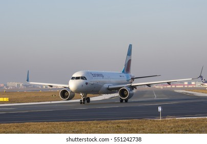 2016-12-31 Warsaw Chopin Airport - AIRCRAFT: Airbus A320-214 AIRLINE: Eurowings - taking off from the Warsaw Chopin Airport Poland