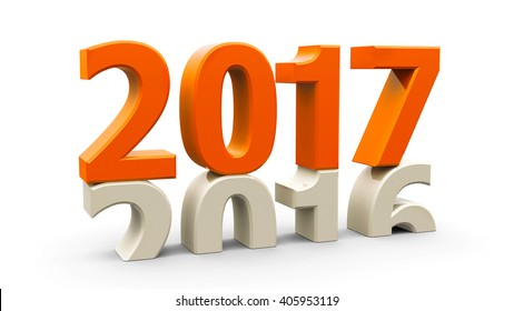 2016-2017 change represents the new year 2017, three-dimensional rendering, 3D illustration