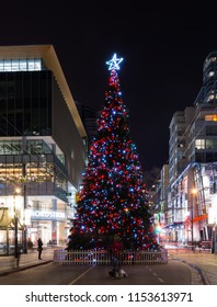 2016-December-25: Tallest Christmas Tree in Vancouver located at Robson Square Vancouver British Columbia Canada