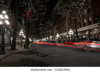 2016-December-25: Water street at Gastown on a winter night located at  Vancouver British Columbia Canada