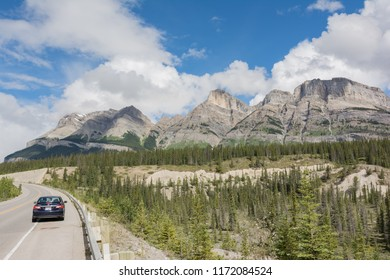 2016-July-04: Vview of Mount Wilson from Saskatchewan River Crossing along the icefields parkway Alberta Canada