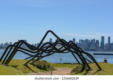 2016-March-27: Public Art called Cathedral at North Vancouver waterfront park British Columbia Canada. Steel beams mimic the outline of local mountains and reflect the spiritual quality of the lands