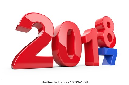 2017 2018 change concept. Represents the new year red and blue symbol. 3D illustration isolated on white background.