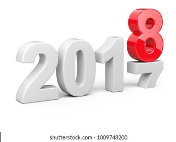2017 2018 change concept. Represents the new year symbol. 3D illustration isolated on white background.