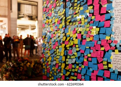 2017 9 april, After the terror attack in Stockholm. Swedish crowd writes notes to show solidarity with the victims of the terror attack