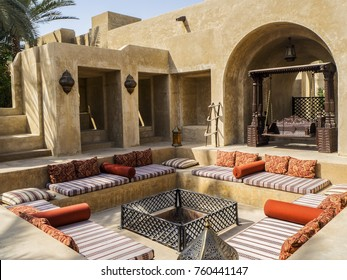2017 Apr 15, Dubai, UAE: Sunken outdoor seating and entertainment area in lavish, authentic resort. Traditional desert experience in an Arabic fort setting that offers luxury, comfort and tranquility.