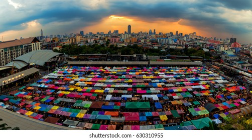 2017 , April 2 :Bangkok ,Thailand - the Colorful Night Market Ratchada, also known as Talad Nud Rod Fai, is only a two-minute walk from the MRT.