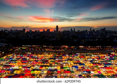 2017 , April 9 :Bangkok ,Thailand - the Colorful Night Market Ratchada, also known as Talad Nud Rod Fai, is only a two-minute walk from the MRT.