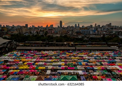 2017 , April 9 :Bangkok ,Thailand - the Colorful Night Market Ratchada, also known as Talad Nud Rod Fai is a shopping street in Bangkok, Thailand.