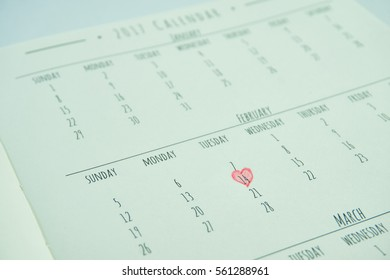 2017 calendar close up on February with heart mark up on 14th