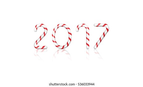 2017 - Candy Canes on White Background