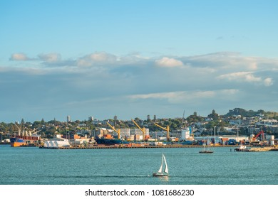 2017, DEC 3 - Auckland, New Zealand - Logistic at the habour beside the sea close to Auckland city.