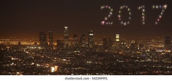 2017 Firework New Year Concept Sunset of Downtown Los Angeles skyline