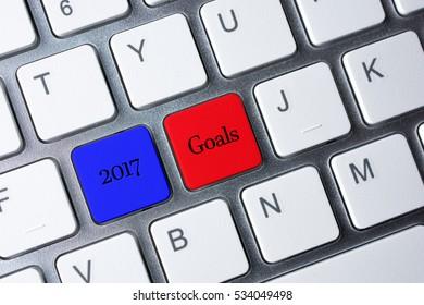 2017 Goals button on white computer keyboard