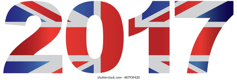 2017 Great Britain Union Jack Flag Numbers Outline Isolated on White Background raster Illustration