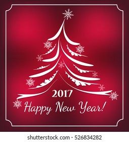 2017 Happy New Year Background for your Flyers and Greetings Card. Ideal to use for parties invitation. Merry christmas and happy new year. Celebration. Abstract Christmas tree made of sparkles