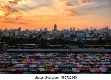 2017 , January 25 :Bangkok ,Thailand -  the Colorful Night Market Ratchada, also known as Talad Nud Rod Fai, is only a two-minute walk from the MRT.