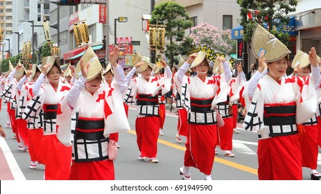 2017 july 31. FUNABASHI CHIBA JAPAN. parade of people who dancing in the funny summer festival along the street.