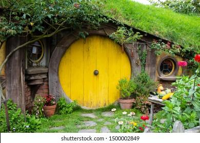 2017, May 2nd, Hobbiton movie set in Matamata, New Zealand - Front door of the hole, Hobbit house