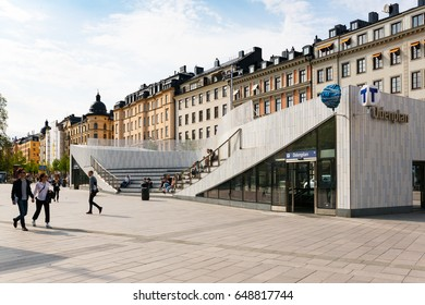 2017, may, Odenplan, the new metro/subway station is in place and people are enjoying the sunshine in the spring in Stockholm