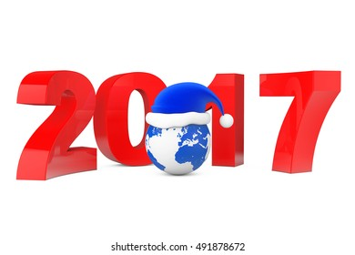 2017 New Year Concept. Santa Hat over Earth Globe on a white background. 3d Rendering